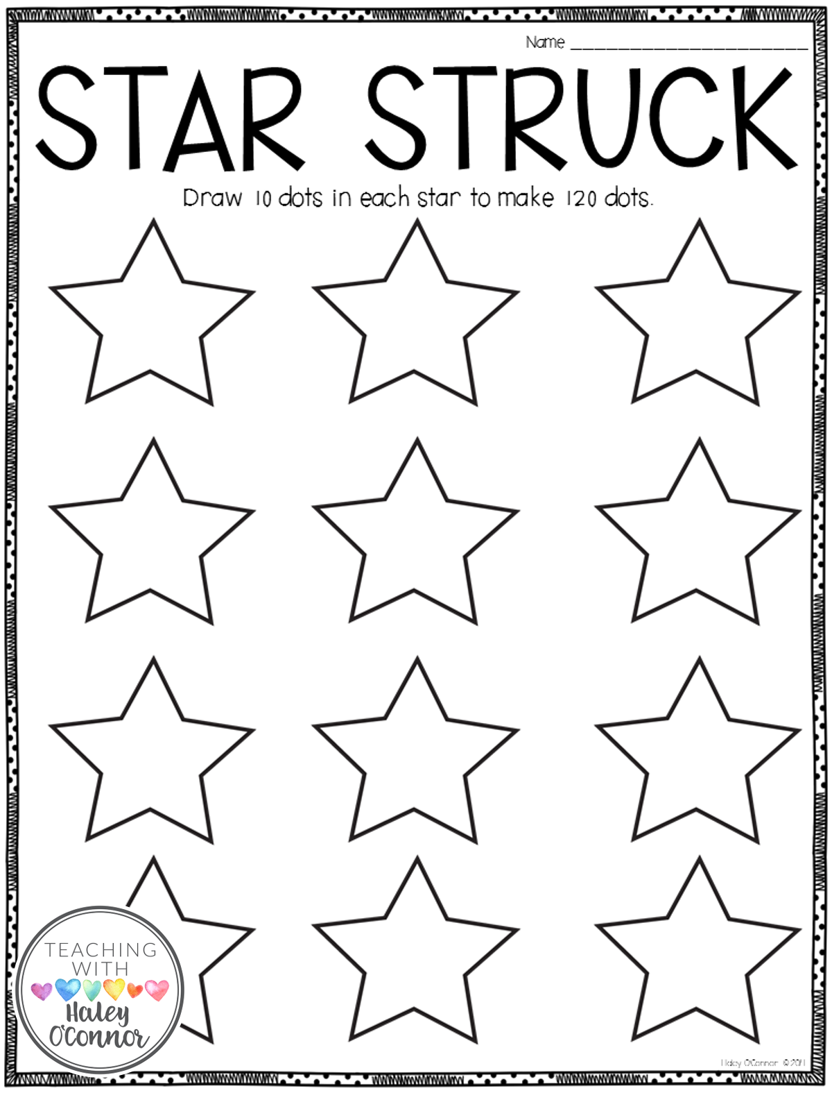 Star Struck Activity for 120th Day of School