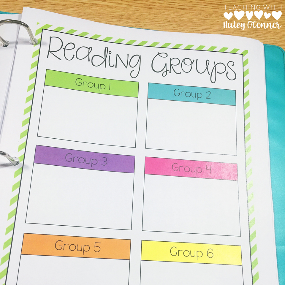 Guided Reading Small Groups Page for Teacher Binder
