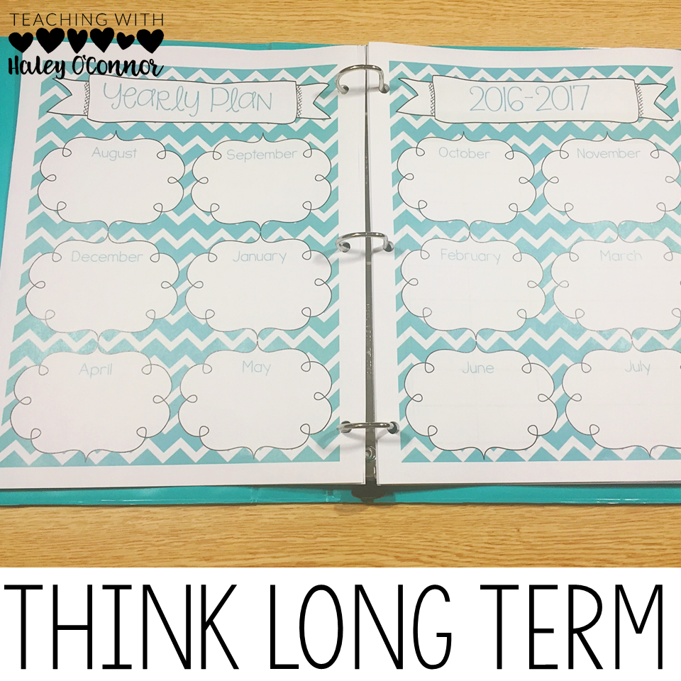 Long Term Planning Page for Teacher Binder