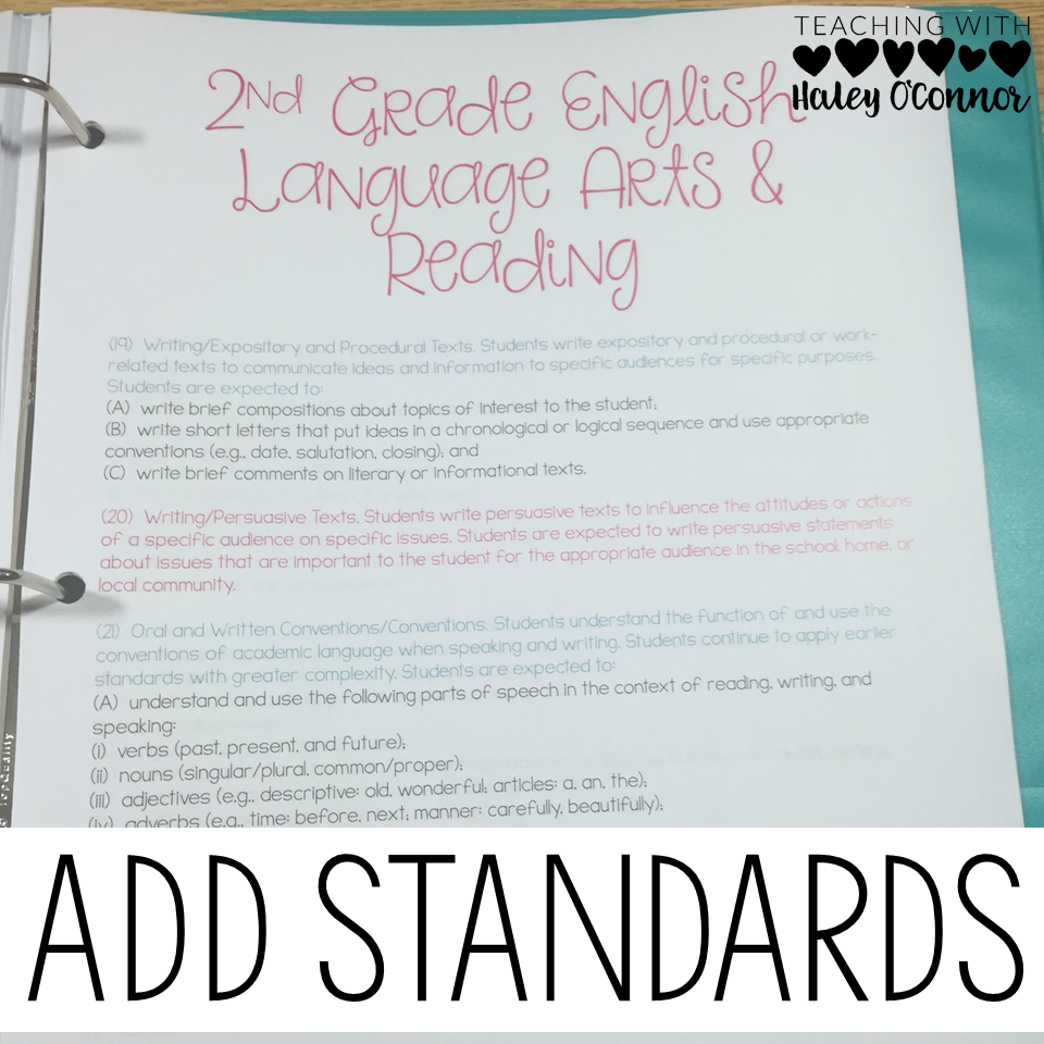 State Standards for Teacher Binder