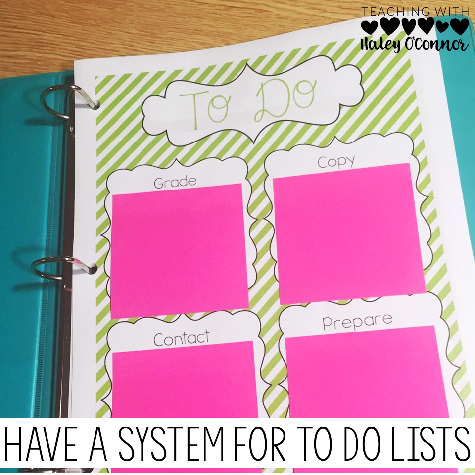 Teacher To Do List for Teacher Binder