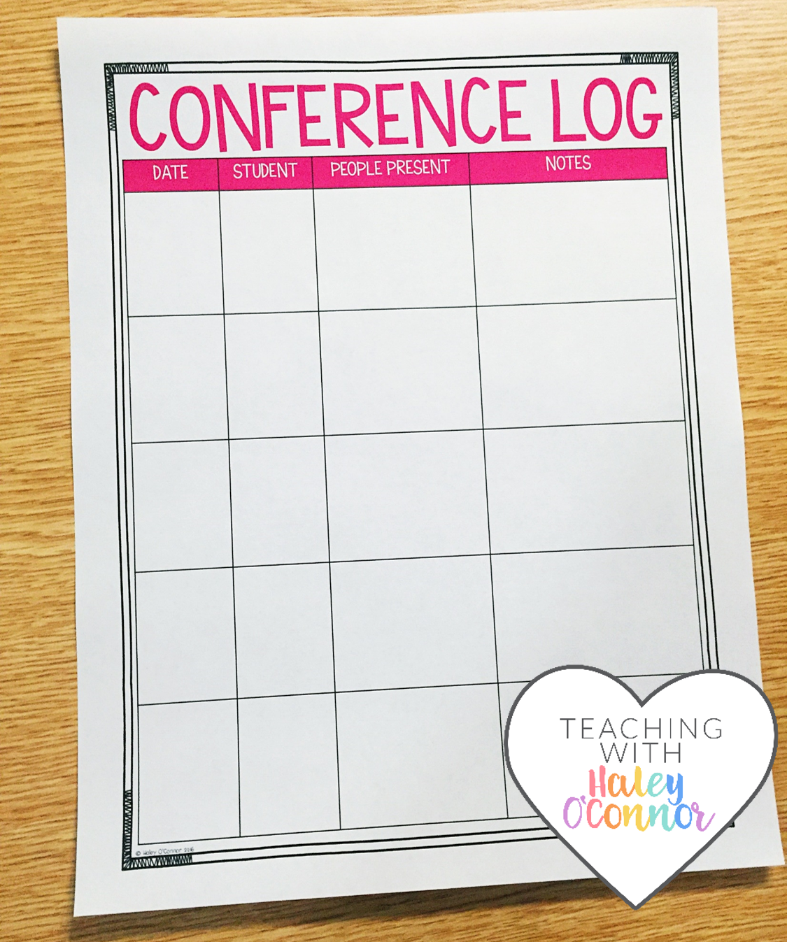 Conference Log For Teachers By Haley OConnor