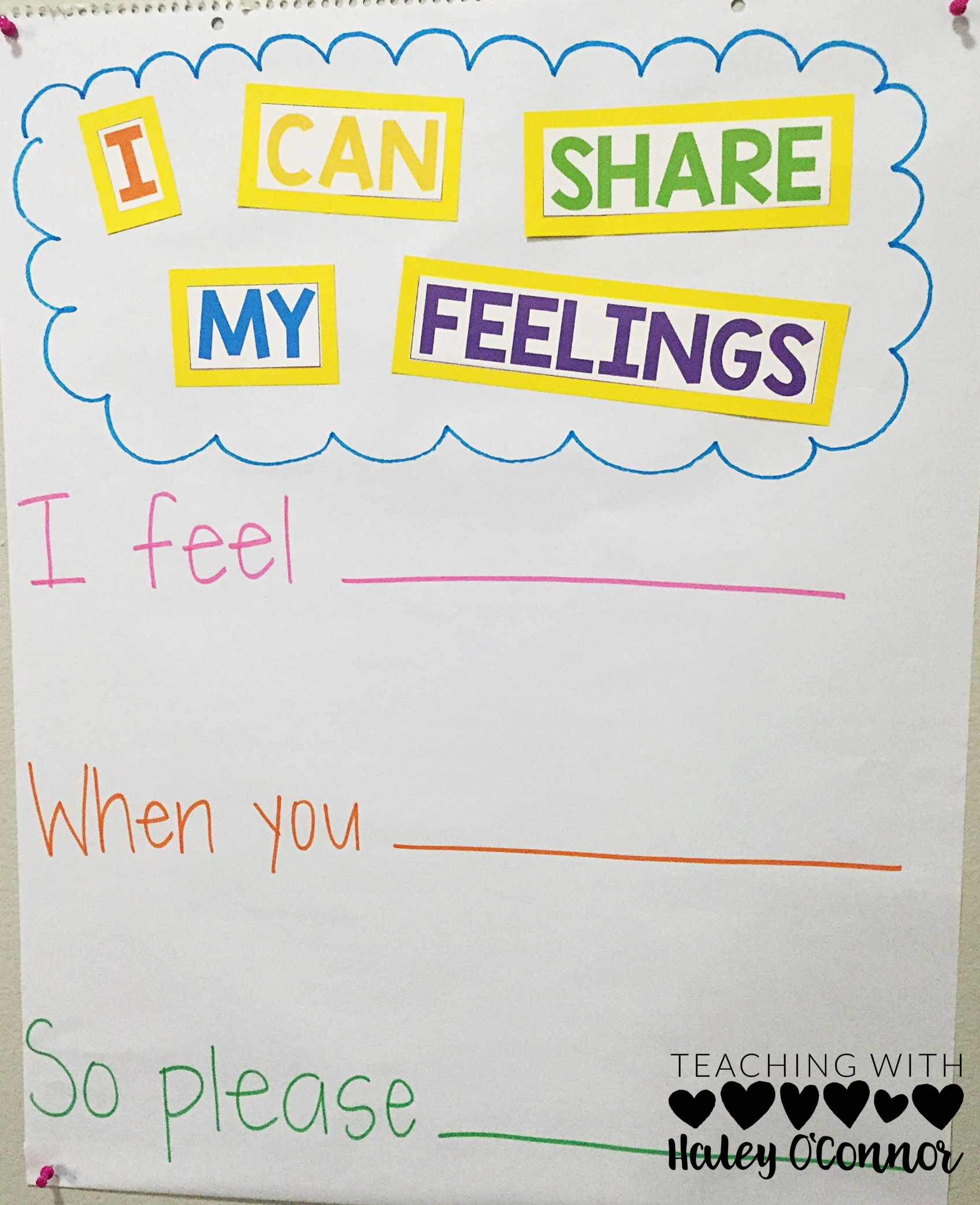 I Can Share My Feelings Anchor Chart