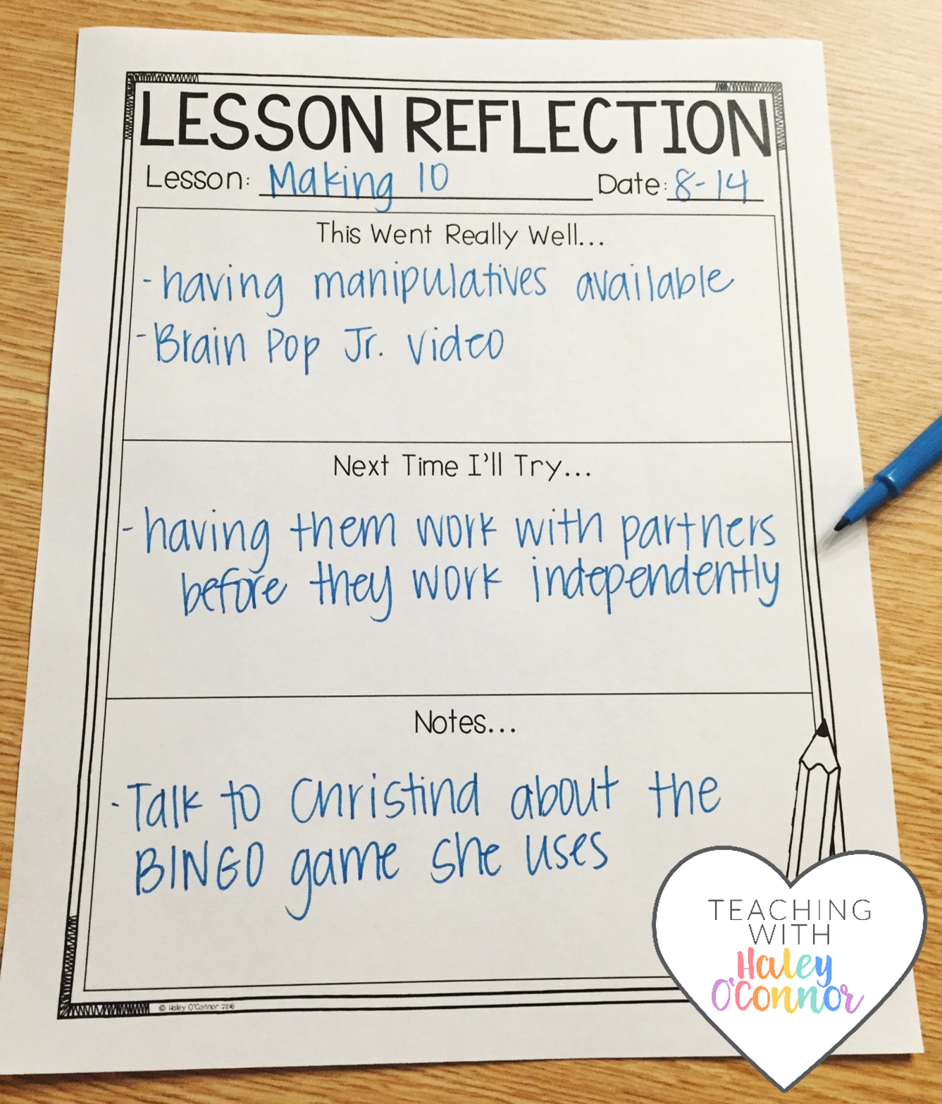 Lesson Reflection Page for Teachers by Haley OConnor