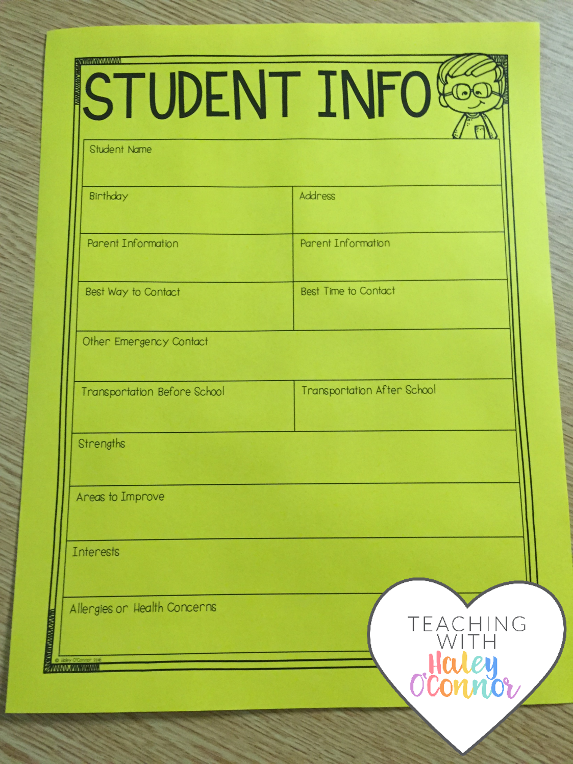 Student Information Sheet for Teachers by Haley O'Connor