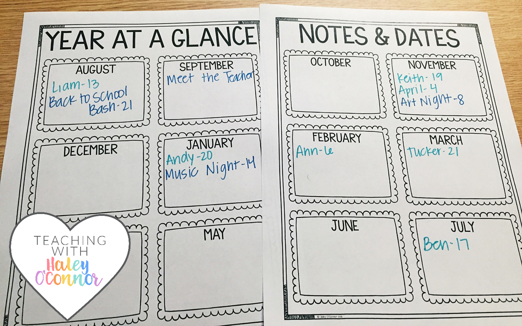 Year at a Glance Page for Teachers by Haley OConnor
