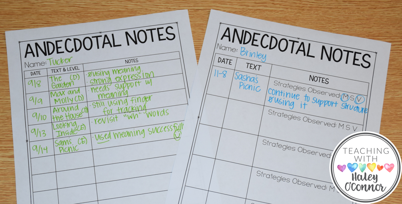 Anecdotal Notes in Guided Reading