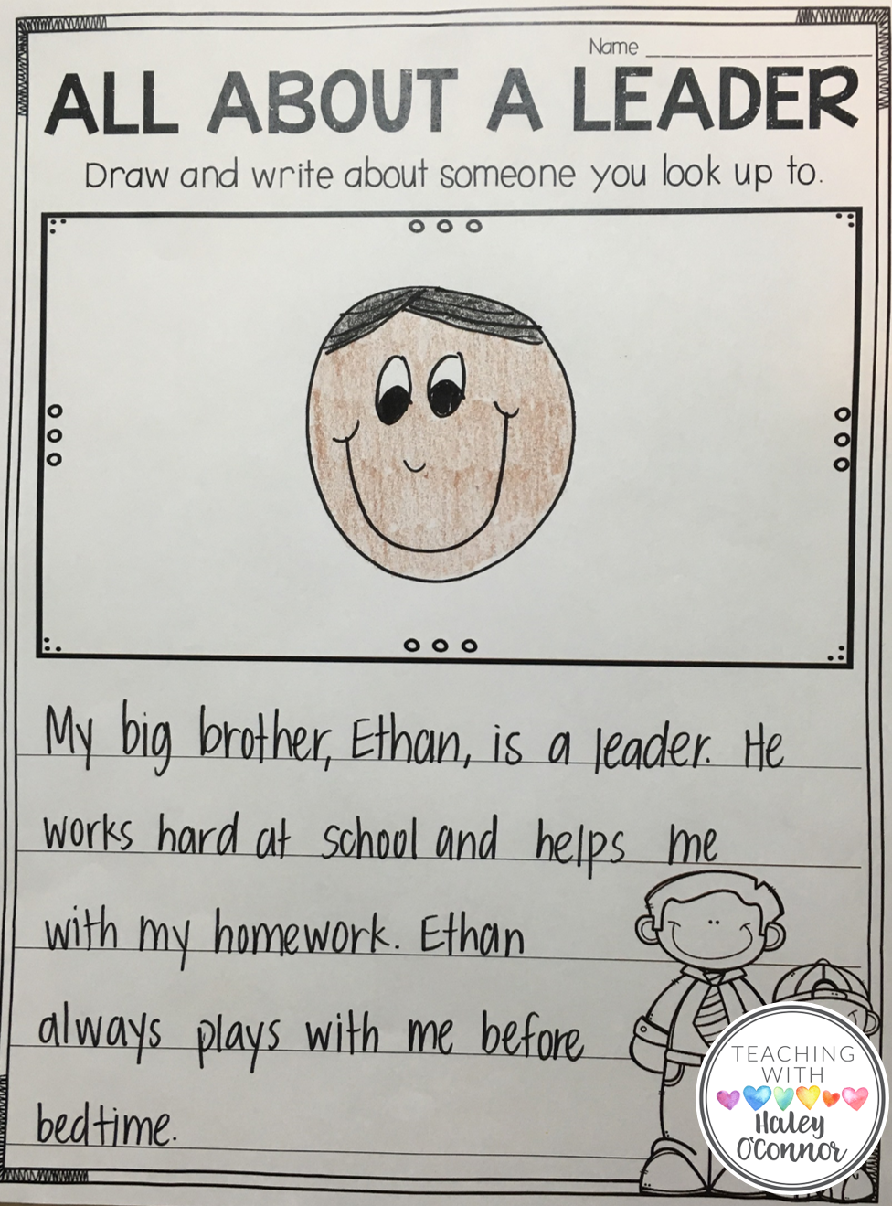 Writing Page for Leadership in the Classroom