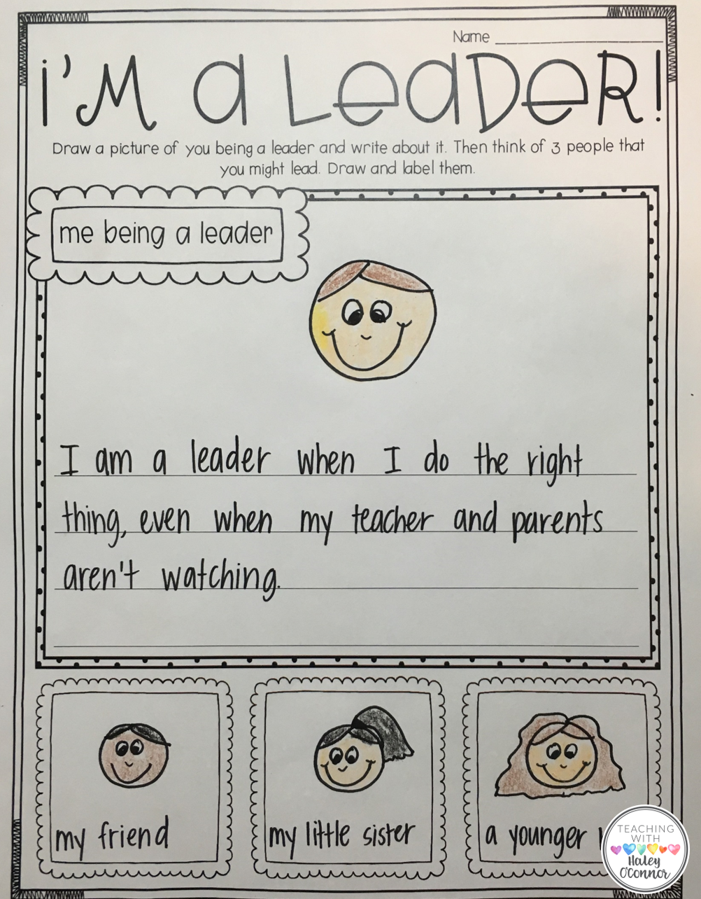 Teaching Student They Are Leaders Writing Page