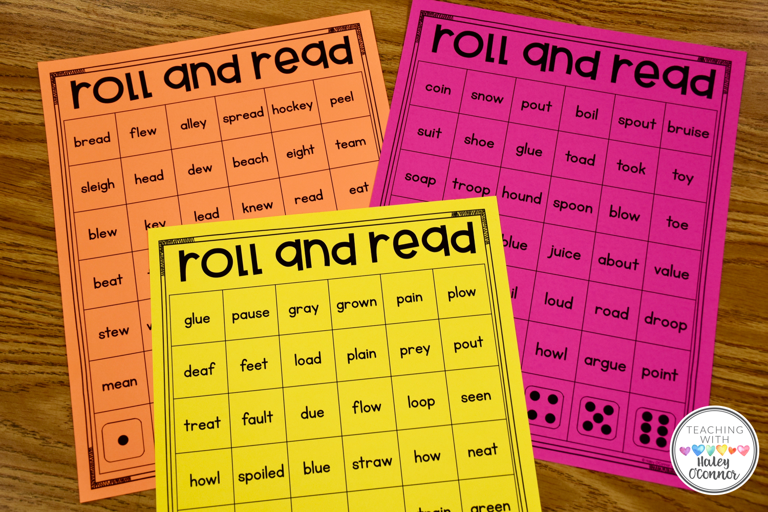 Roll and Read Vowel Teams. Literacy Center for practicing vowel teams