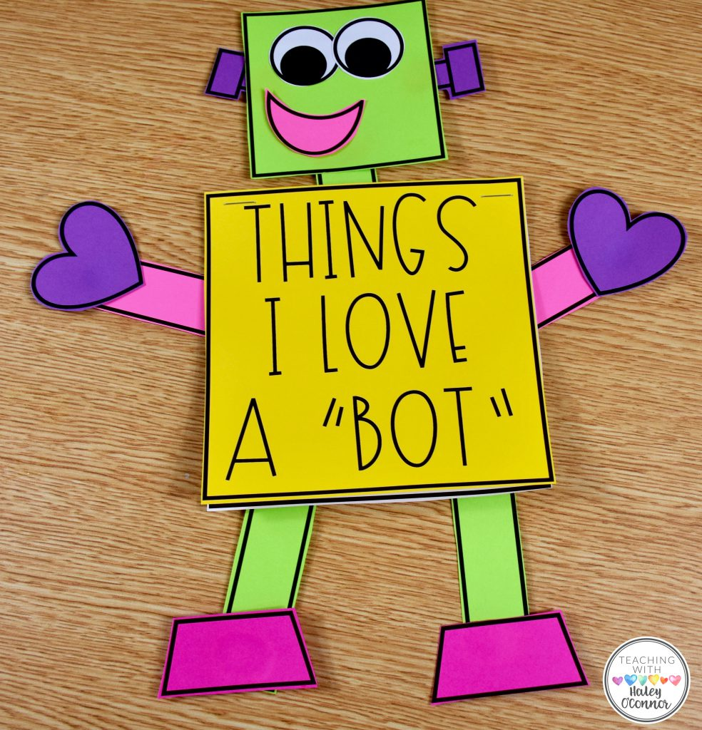 Things I Love A Bot Valentine's Craft