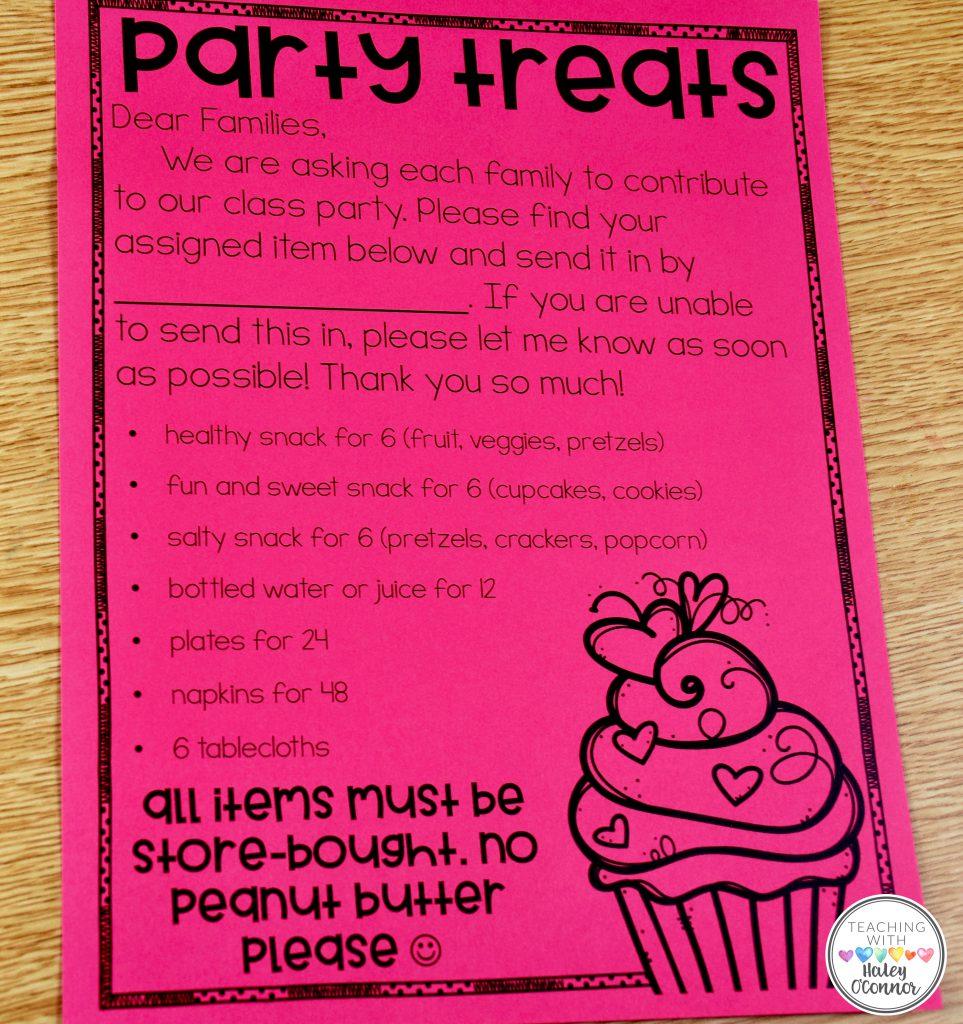 Party Treats Parent Letter