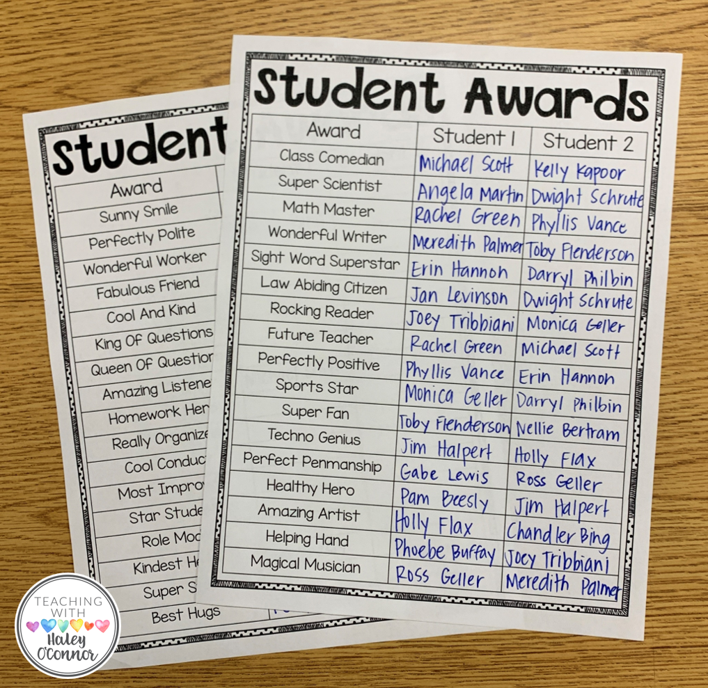 Student Award Checklist