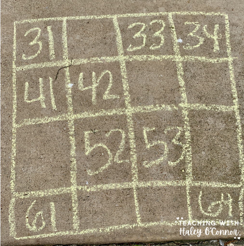 Number sense activity. 100s chart puzzle for kids to fill out with chalk outside.