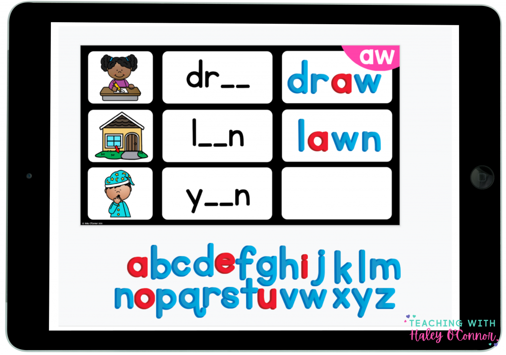 Digital vowel teams activity. Students build words with magnetic letter tiles on tablets or computers.