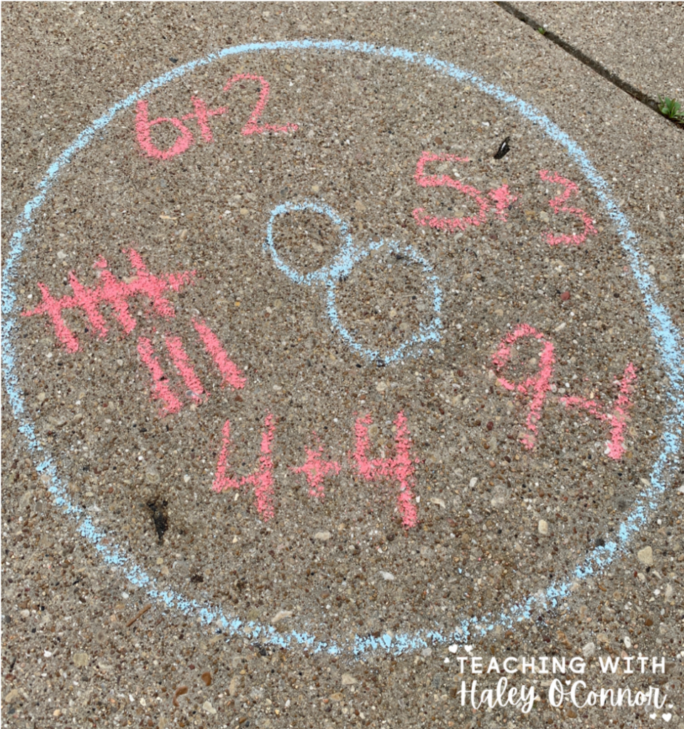 Number sense activities with chalk. Making numbers with number sentences, tally marks, pictures etc.
