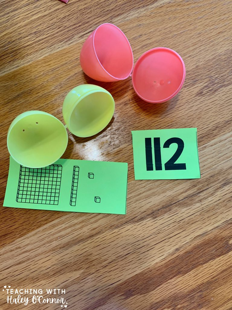 Easter egg activities. Match the missing numbers and place value blocks. Different levels for students or kids at home.