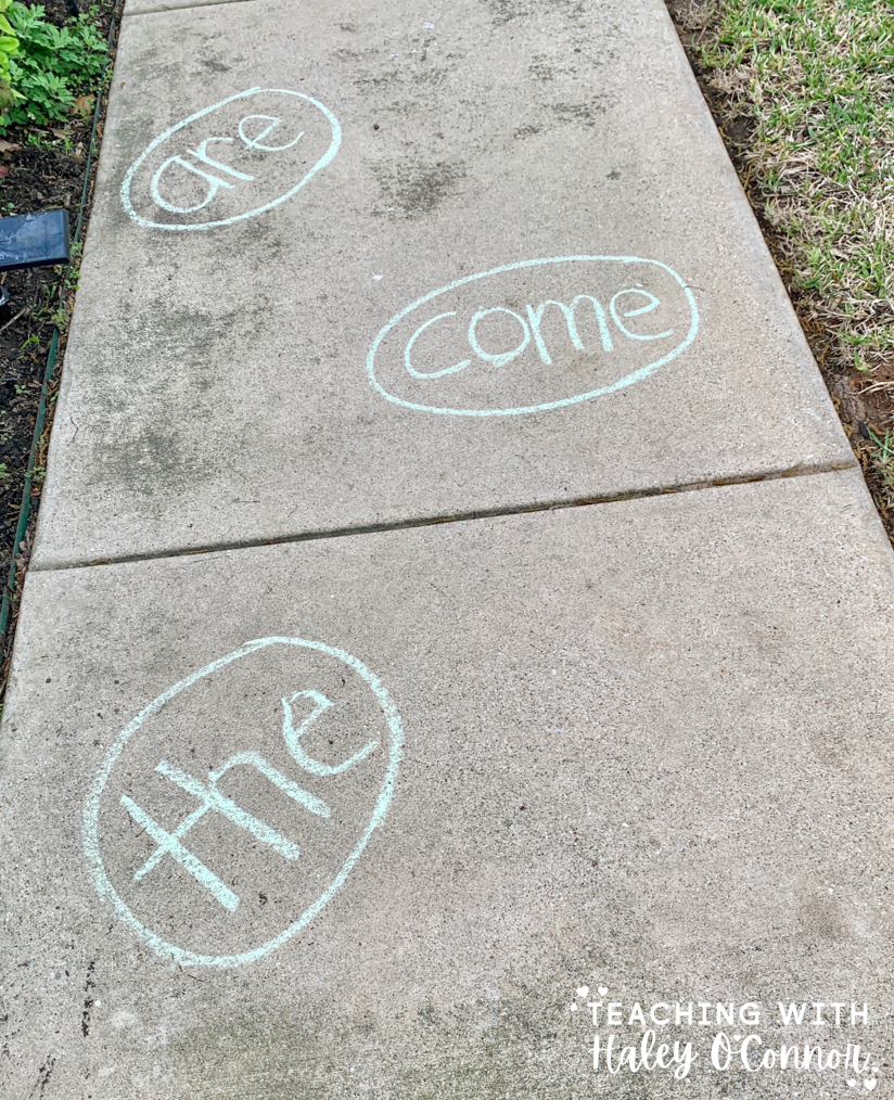 Sight words with chalk. Learning  activities to use with chalk outside. Chalk activities to use during learning ath ome.