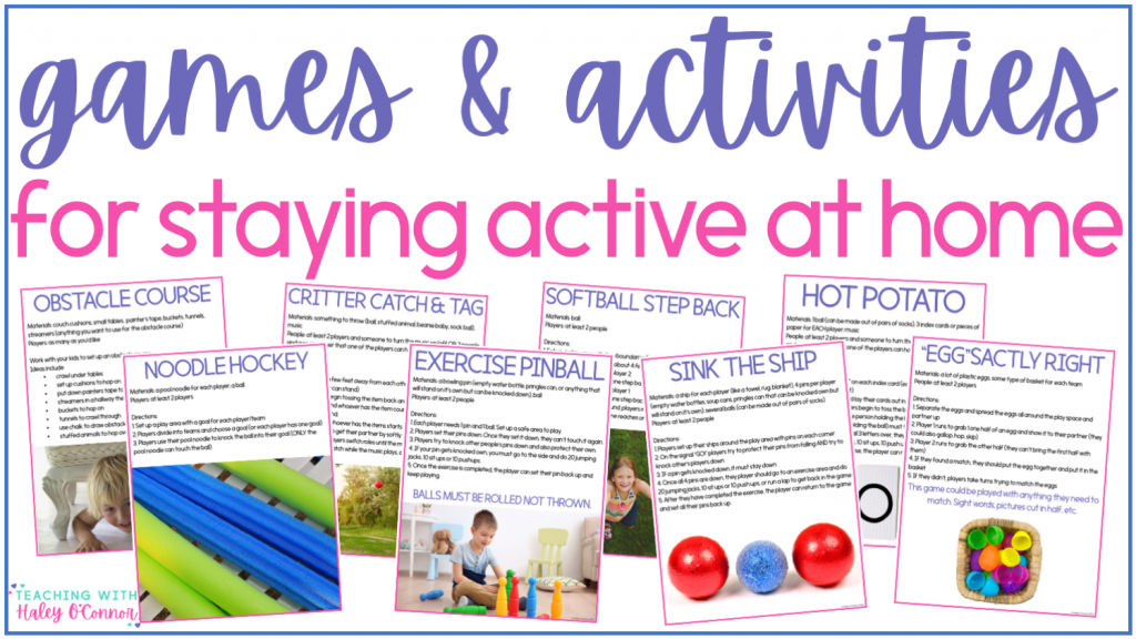 games and activities for staying active at home; pe activities for learning at home; kids staying active during shelter in place