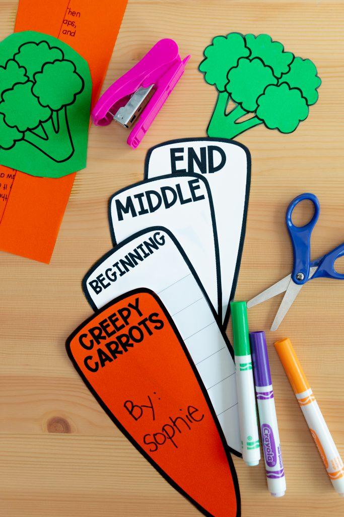 Creepy carrots read aloud activities. Activities for Halloween in the classroom. This image shows a retelling activity for Creepy Carrots.