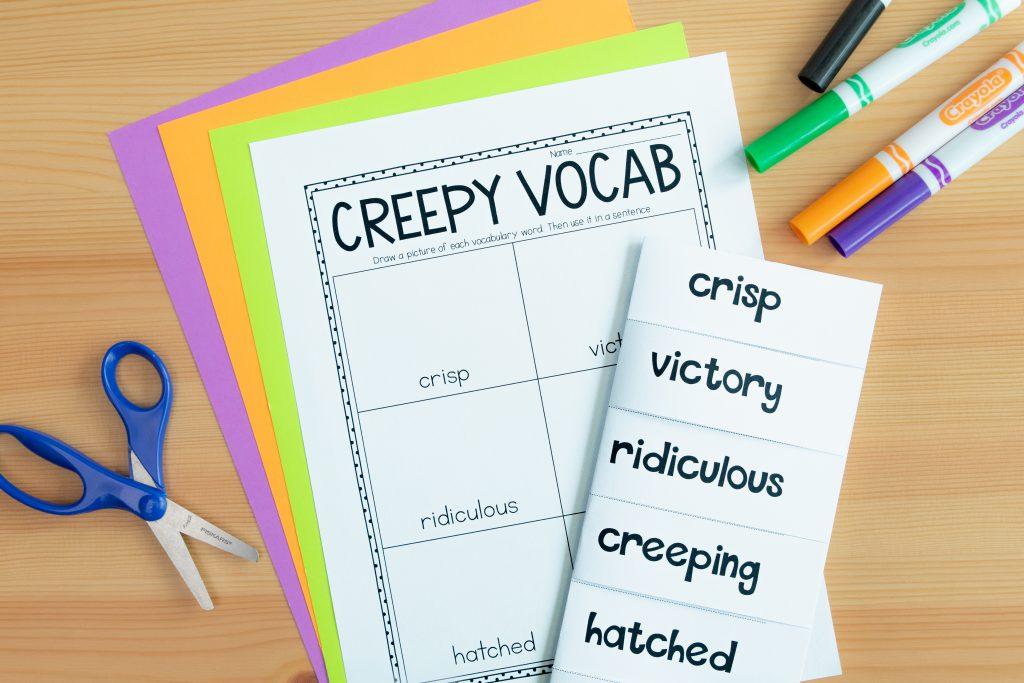 Creepy carrots read aloud activities. Activities for Halloween in the classroom. This image shows a vocabulary activity for Creepy Carrots.
